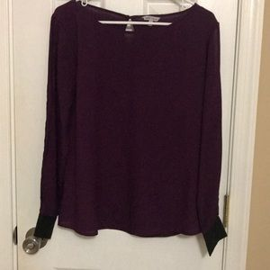 Long Sleeve Purple Top with Peekaboo Sleeves
